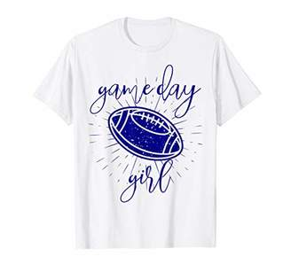 Tailgate Football Game Day Navy Girl Season Cute Mom Squad T-Shirt
