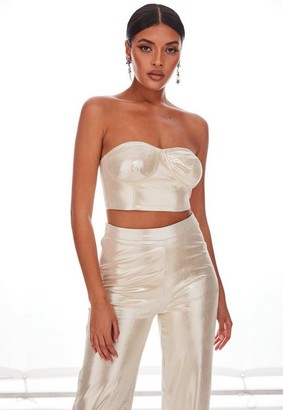 Missguided Nude Co Ord Shimmer Bustier Bralette