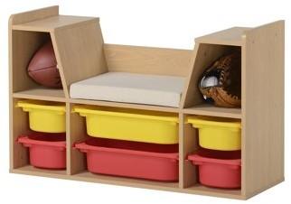 Homestar Kid's Storage Bench in Light Oak finish