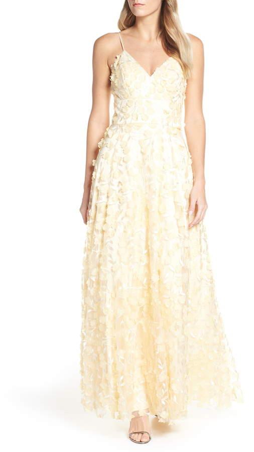 Eliza J Floral Applique Evening Dress
