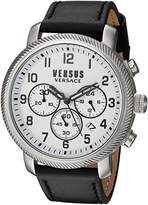 Versus By Versace Men's 'HOXTON SQUARE' Quartz Stainless Steel and Leather Casual Watch, Color:Black (Model: S70020016)