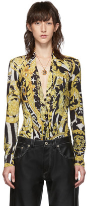 Versace Black and Yellow Heritage Stamp Deep-V Bodysuit