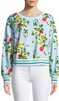 Milly Tyler Rose-Print French Terry Sweatshirt