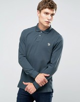 Paul Smith PS by Polo Shirt With Zebra Logo In Slim Fit With Long Sleeves Gray