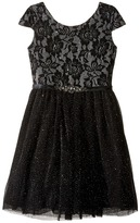 Us Angels Short Sleeve Bonded Glitter Lace Dress w/ Tulle (Big Kids)