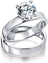 Bling Jewelry Classic Round Cut 1.5ct CZ Sterling Silver Engagement Wedding Ring Set with Engraving