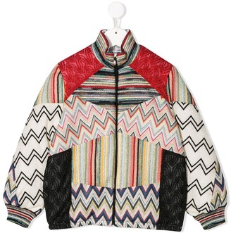 Missoni Kids knit detail bomber jacket
