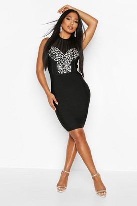 boohoo Boutique Bandage Jewel Front Mini Dress