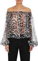 Saint Laurent Women's Leopard-Print Silk Blouse