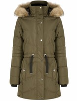 Thumbnail for your product : Tokyo Laundry Women's Longline Quilted Puffer Coat with Faux Fur Hood - Khaki - 12