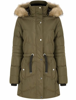 Tokyo Laundry Women's Longline Quilted Puffer Coat with Faux Fur Hood - Khaki - 12