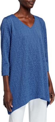 Caroline Rose Pinwheel Textured 3/4-Sleeve Swing Tunic