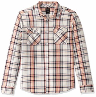 RVCA Men Avett Flannel Long Sleeve Shirt White Small