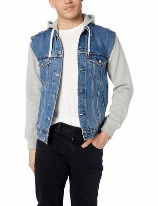 Levi's Men's Trucker Jacket Outerwear -Hybrid Hoodie/black M