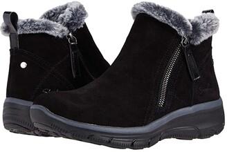 Skechers Easy Going - Mid 1/4 Zip Bootie (Black) Women's Shoes