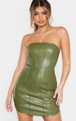PrettyLittleThing Khaki Faux Leather Binding Detail Bodycon Dress