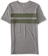 Aeropostale Mens Chest Stripe Crew-Neck Tee Shirt Gray