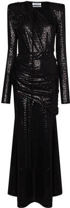 ATTICO Sequin Embroidered Draped Dress