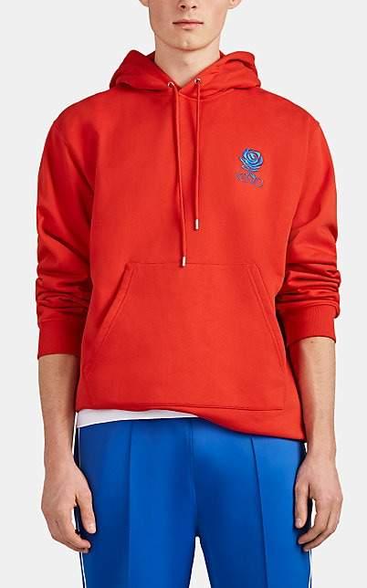 Kenzo Men's Rose-Logo Cotton Terry Hoodie - Red