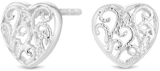 Simply Silver Sterling Silver 925 Mini Filagree Heart Stud