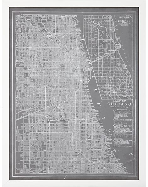 Crate & Barrel Map In Grey Chicago Print