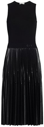 Givenchy Pleated Faux-Leather Midi Dress
