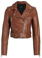 LTH JKT Women's Mya Cropped Belted Leather Biker Jacket