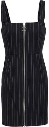 Nicholas Zip-detailed Pinstriped Twill Mini Dress
