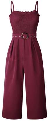 Goodnight Macaroon 'Elliana' Strap Ruched Jumpsuit with Belt (3 Colors)