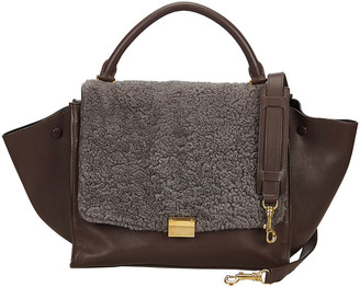 Celine Brown/Gray Leather and Wool Trapeze Satchel