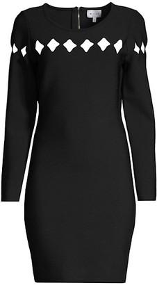 Milly Scallop Cutout Long-Sleeve Dress