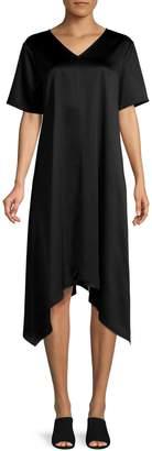 Eileen Fisher V-Neck Asymmetric Hem Satin Dress
