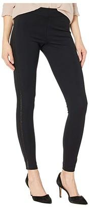 Hue Metallic Racer Stripe Ponte Leggings (Black) Women's Casual Pants