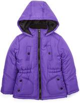 KC Collections Purple Elastic Waistband Puffer Coat - Girls