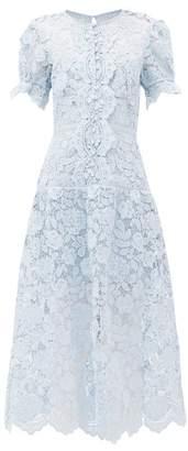 Self-Portrait Buttoned Floral-lace Midi Dress - Womens - Light Blue