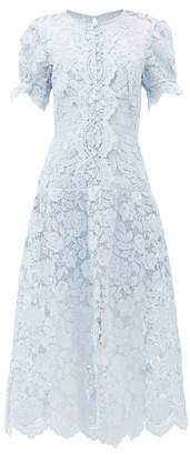 Self-Portrait Self Portrait Buttoned Floral-lace Midi Dress - Womens - Light Blue