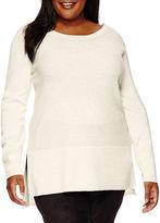 WORTHINGTON Worthington Long-Sleeve Stitched-Hem Pullover Sweater - Plus