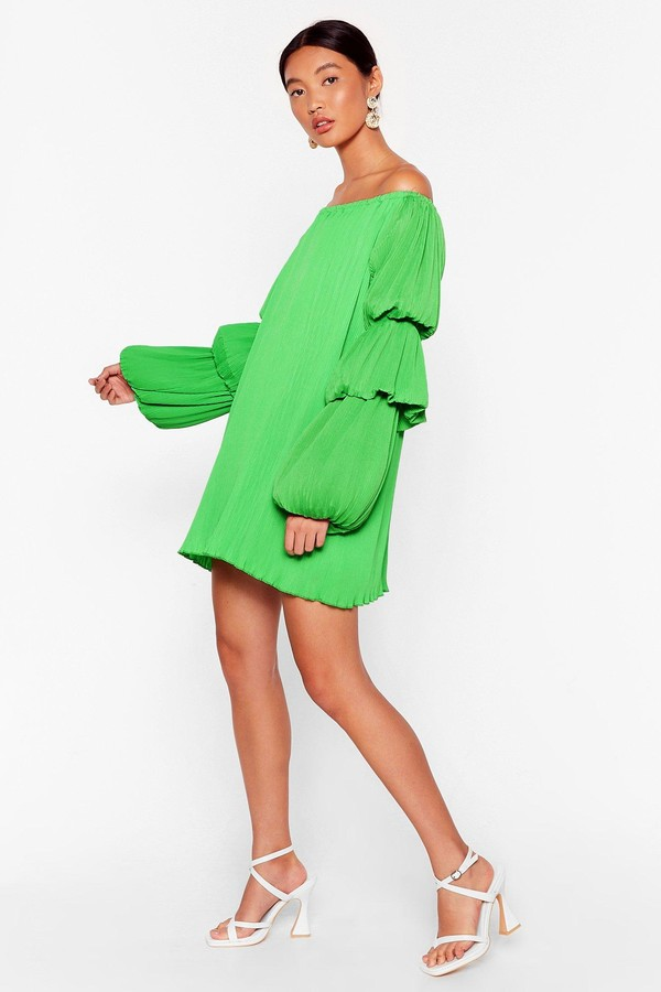 Thumbnail for your product : Nasty Gal Womens Pleated Puff Sleeve Bardot Mini Dress