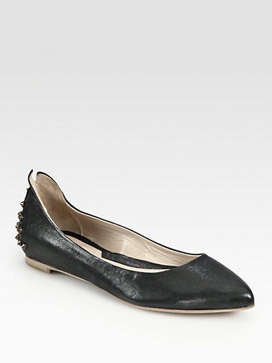 McQ Studded Leather Ballet Flats