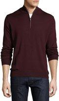 Neiman Marcus Wool-Blend Quarter-Zip Mock-Neck Sweater, Sangria
