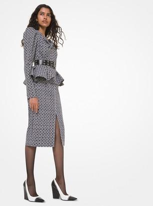 Michael Kors Glen Plaid and Dot Wool Peplum Slit-Front Dress