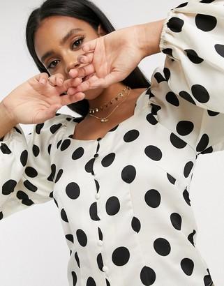 Vero Moda blouse with square neck in white polka dot