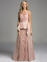 Lara Dresses - Bateau Illusion Mesh A-Line Evening Gown with Floral Appliques and Rhinestone Details 33225