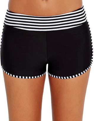 Zesica Women's Board Shorts Black - Black & White Stripe Trim Boyshort Bikini Bottoms - Women & Plus
