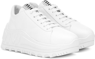 Miu Miu Leather flatform sneakers