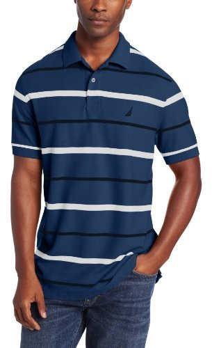 Nautica Men's Short Sleeve Stripe Deck Polo Shirt