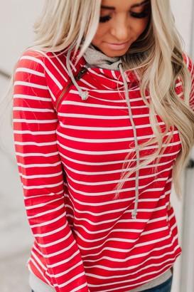 Ampersand Avenue DoubleHood Sweatshirt - Red Stripe