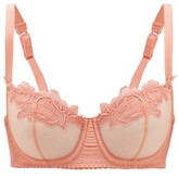 Fleur of England Penelope Soft-cup Underwired Lace And Tulle Bra - Womens - Light Pink