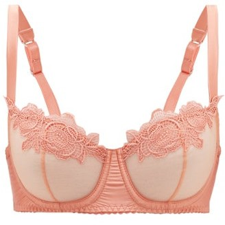 Fleur of England Penelope Lace And Tulle Underwired Bra - Womens - Light Pink