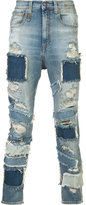 R 13 patched frayed cropped jeans
